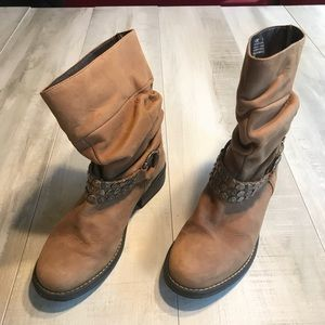 Steve Madden Cognac Tan Leather Harness Moto Boots
